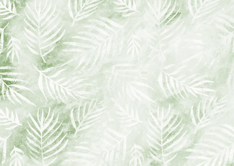 White palm leaves pattern green empty paper background