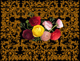 seven roses in yellow frame on black