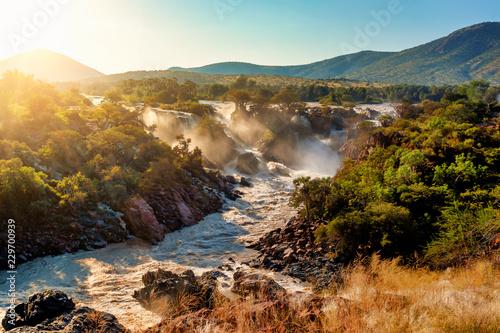 Leinwanddruck Bild Epupa Falls on the Kunene River in Namibia