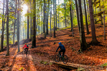 Cycling, mountain biker couple on cycle trail in autumn forest. Mountain biking in autumn landscape forest. Man and woman cycling MTB flow uphill trail. © Gorilla