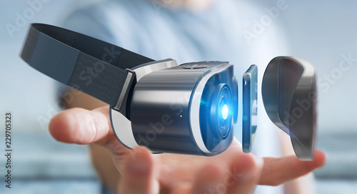 Foto Murales Businessman using virtual reality glasses technology 3D rendering