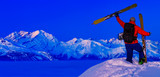Skitouring with amazing view of swiss famous mountains in beautiful winter powder snow of Alps. - 229705752