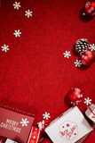 lot of gift box on color background for holiday card - 229708737