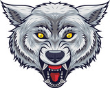 Angry wolf head mascot with open mouth - 229716505
