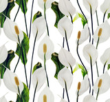 Lilies white flowers seamless pattern on white