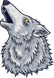 Cartoon angry wolf head mascot - 229717719