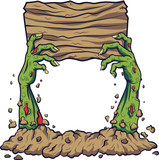 Cartoon zombie hand holding wooden board - 229718308