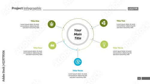 Five options process chart slide template  Business data  Plan
