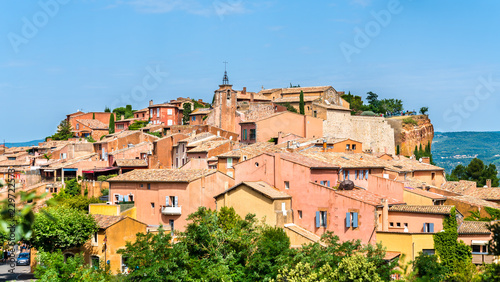 Leinwandbild Motiv View of Roussillon, a famous town in Provence, France