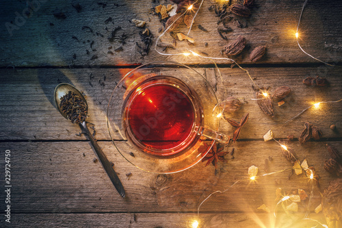 Christmas hot drink in glass - 229724750