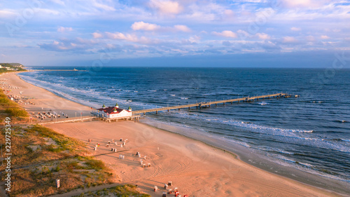 Leinwanddruck Bild Luftbild Ahlbecker Strand mit Seebrücke