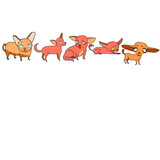Set of vector illustrations, funny cartoon dogs, mood, emotions, pet characters