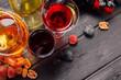 Leinwandbild Motiv wine and grapes on the table