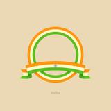 Ribbon and circle with flag of India