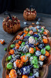 Halloween multi-colored popcorn party dish