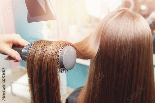 hair dryer, concept cut salon, female stylist.