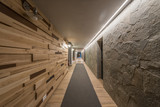 Long hallway and ceiling in modern hotel - 229740381