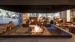Leinwanddruck Bild - Interior of restaurant view from fireplace