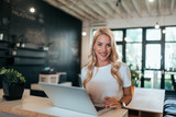 Portrait of successful businesswoman in modern office. - 229748741
