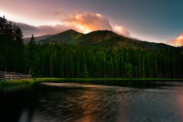 Sunrise in Tatra mountain National Park. Smreczynski Pond