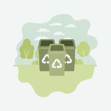 park with recycle bins - 229749517
