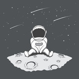 Cute astronaut sits on Moon and looking to stars.Space theme.Hand drawn vector illustration - 229750502