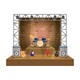concert stage with instruments scene - 229752303