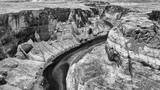Aerial view of Horseshoe Bend in black and white, Arizona - 229756514