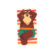 Bear in sunglasses sunbathing on the beach, cute animal cartoon character relaxing on the seashore at summer vacation vector Illustration on a white background