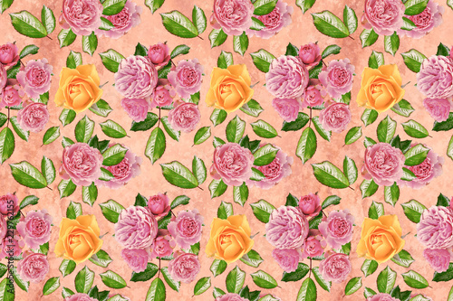 Flower wallpaper with pink and yellow roses on a pink background - 229762155