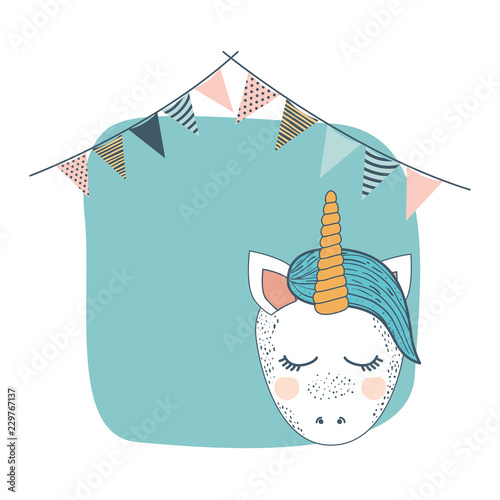 frame with unicorn and party garlands