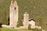 Sunset at San Gian church with its ruined bell tower near Celerina/St. Moritz, Switzerland