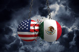 Relationship conflict between USA and Mexico. Trade deal concept. 3D Rendering