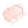 Golden pink art frames. Modern card design, brush stroke, lines, points, gold, premium brochure, flyer, invitation template. Beauty identity elegant style. Hand drawn vector.
