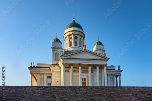Helsinki cathedral and steps on blue sky background , finland - 229776778