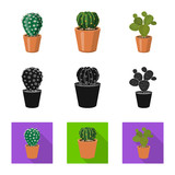 Isolated object of cactus and pot sign. Collection of cactus and cacti vector icon for stock.