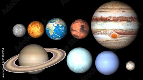 All planets of Solar System. Mercury, Venus, World, Mars, Jupiter, Saturn, Neptune, Uranus, Pluto illustration. - 229780134