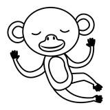 wild monkey isolated icon