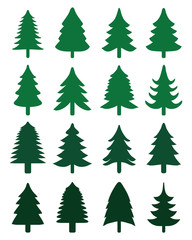 Green Christmas trees on a white background