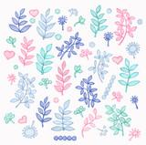 Fantasy leaves. Hand drawn illustration. Isolated on white background