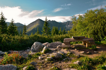 Place of relaxation at the mountain trail. Gasienicowa valley