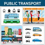 Flat Public Transport Square Concept