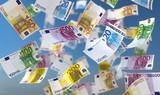 3D Illustration Geldscheine blauer Himmel mit Wolken