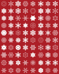 Set of different white snowflakes on a red background