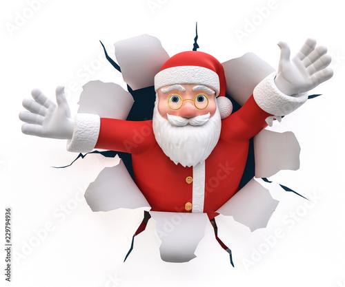 Leinwanddruck Bild 3D Illustration Weihnachtsmann Willkommen