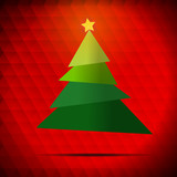 Vector : Christmas tree and star on red background