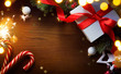 art  Christmas tree decoration and holiday gifts; merry Christmas and happy New year background;