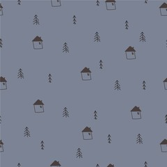 Winter seamless pattern. Trees and houses, Christmas simple vector background. © 221909