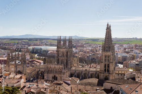 Leinwanddruck Bild Panoramic view of the city of Burgos, with its cathedral in the center, a sunny summer day