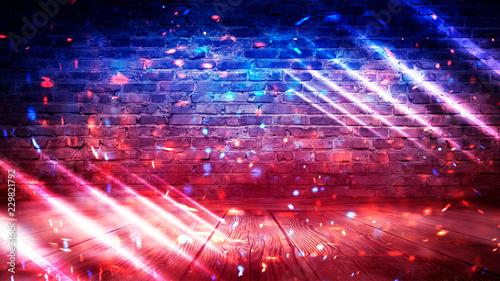 Poster Brick wall, background, neon light, smoke